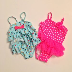 2 girls bathing suits 0-6 months.